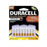 Duracell Easy Tab Hearing Aid Batteries 312 8 ea (041333002798) Long-lasting button cell batteries keep your electronics working at peak performance. Enjoy dependable power for the devices you use every day. Battery Type: Zinc Air; Battery Size: 312; For Use With: Home Medical Devices; Voltage: 3 V.