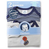 NEW Gerber Baby Boy Gowns With Mitten Cuffs - Sports & Stripes - 0-6 months  Give your little one the comfort and breathability he needs with this two-pack of newborn boy's sleep gowns from Gerber. Featuring striped and rib knit designs, these gowns have lap shoulders and open bottoms, which make dressing and diaper changes quick and easy. Plus, mitten cuffs on long sleeves ensure your baby is cozy and secure right down to his tiny fingertips.