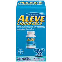 Product Description:  Aleve Liquid Gels Just 2 Aleve can provide all day pain relief so you can spend more time doing what you love instead of stopping for more pills.  Aleve is an over-the-counter, nonsteroidal anti-inflammatory drug (NSAID).  - It comes in soft, liquid-filled capsules.  - Temporarily relieves minor aches and pains due to the minor pain of arthritis, muscular aches, backache, headache, toothache, menstrual cramps, the common cold and temporarily reduces fever.  About the Product Temporarily relieves minor aches and pains due to: minor pain of arthritis, muscular aches, backache, menstrual cramps, headache, toothache and the common cold Temporarily reduces fever Naproxen sodium 220 mg 120 Liquid Gels