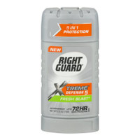 17000068081 Right Guard Xtreme Defense 5 Powerstripe Fresh Blast, 2.6 oz  About this item Important Made in USA Origin Disclaimer: For certain items sold by Walmart on Walmart.com, the displayed country of origin information may not be accurate or consistent with manufacturer information. For updated, accurate country of origin data, it is recommended that you rely on product packaging or manufacturer information. Right Guard Xtreme Defense 5 Antiperspirant Fresh Blast. Right Guard Xtreme Fresh Blast Defense 5 Antiperspirant New. up to 72hr. 5 in 1 protection. Odor protection. NET WT 2.6 OZ (73g). 1. Blocks sweat extra effectively. 2. Time-released for long-lasting odor protection. 3. Targets bacteria that cause odor. 4. Neutralizes odor with Protectate technology. 5. Protects up to 72hrs from odor and 48hrs from wetness. Use: Reduces underarm perspiration. Extra effective. The distinctive design and elements of this package are proprietary and owned by the Dial Corporation, Henkel Company.