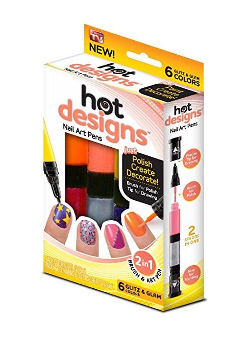 Hot Designs Glitz and Glam Nail Art Pens - 6 Color - Silver, Pink ...