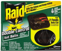 Two foods destroy the queen and colony Kills ants for up to 3 months Relief from severe ant problems Child resistant baits. Reduces ant population.