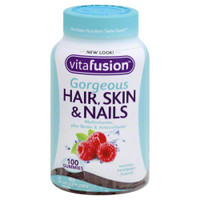 VitaFusion Gorgeous Hair, Skin & Nails Multivitamin, Raspberry Flavor, 100 Gummies