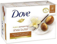 Dove Purely Pampering Shea Butter Beauty Bar, 4 oz, 4 Bar