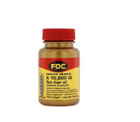 FDC Natural Vitamin A 10,000 IU Fish Liver Oil, 100 soft gels capsules