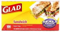 Glad Sandwich Zipper Bags 100 ct