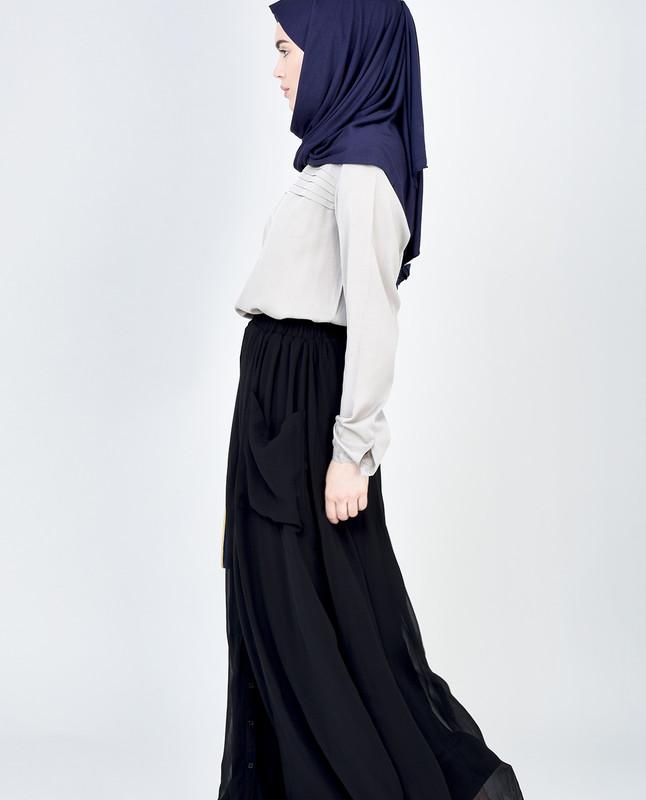 Black Full Button Detail Skirt