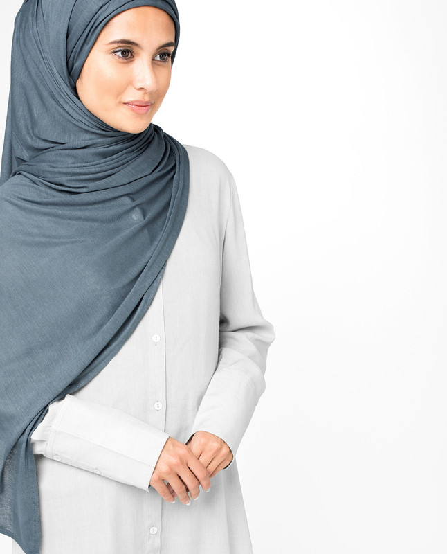 China Blue Viscose Jersey Hijab