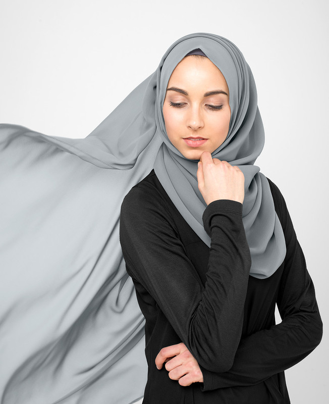 Monument Grey Pinless Poly Georgette Hijab