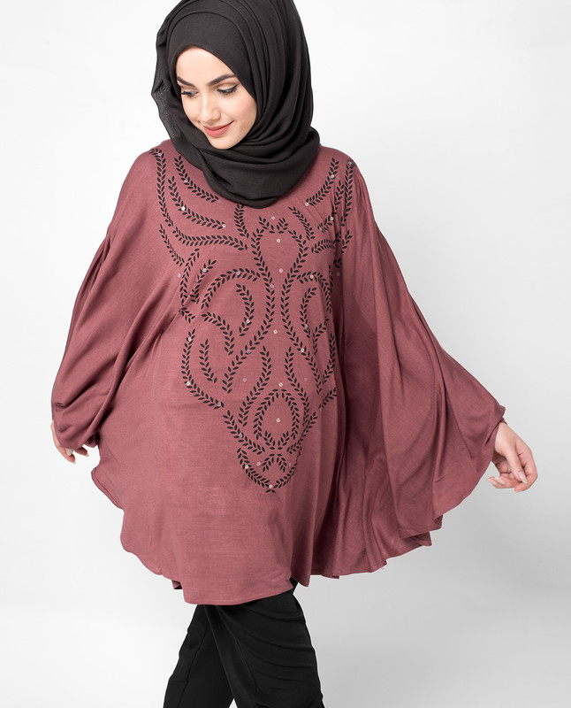 Maroon Poncho Top