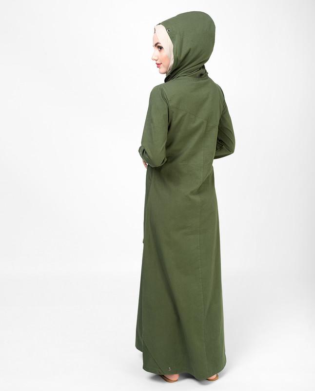 Military Green Jilbab, Abaya, Cotton Jilbab
