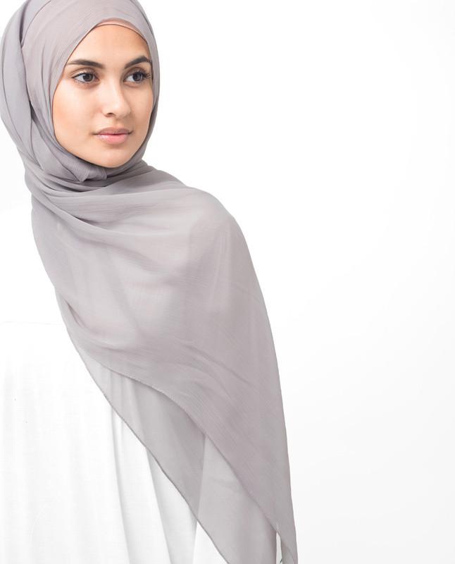 Opal Gray Polychiffon Hijab