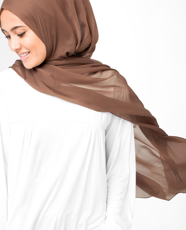 Tobacco Brown Polychiffon Hijab
