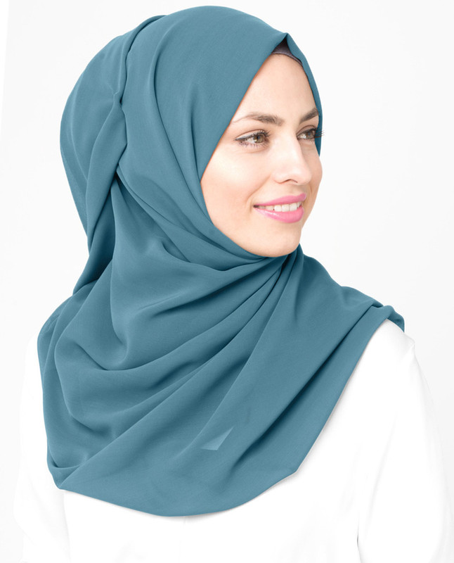 Adriatic Blue Poly Georgette Hijab