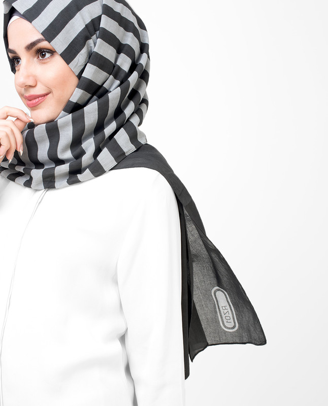 Grey Stripes Cotton Voil Hijab