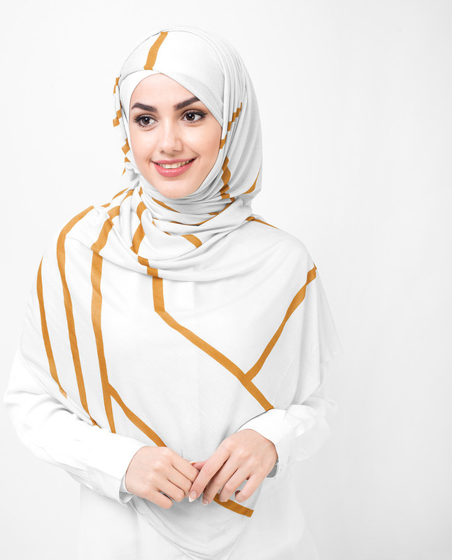 Grey and Gold Print Viscose Jersey Hijab