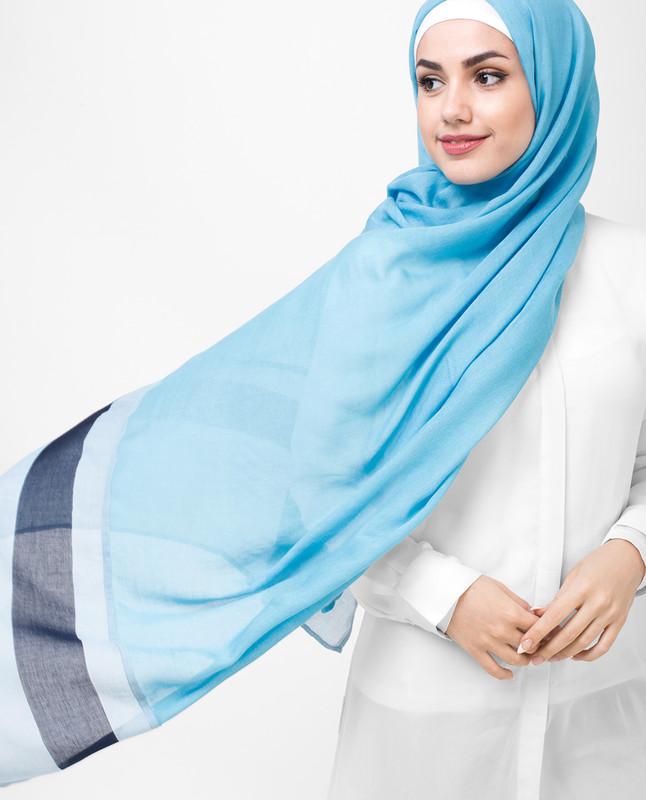 Oceanic Sky and Deep Blue Panel Printed Hijab