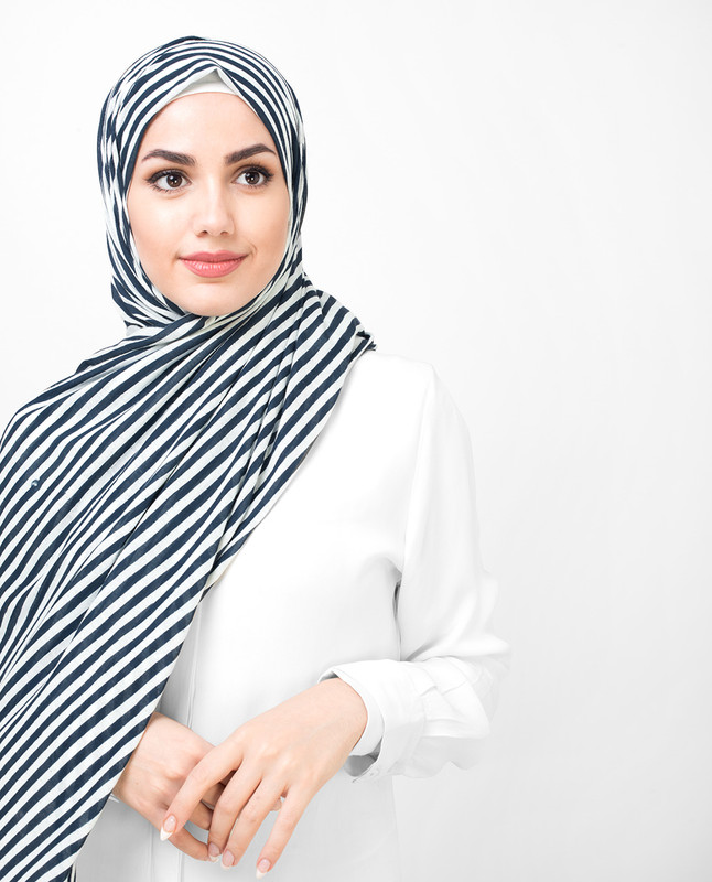Twilight Stripes Print Viscose Jersey Hijab
