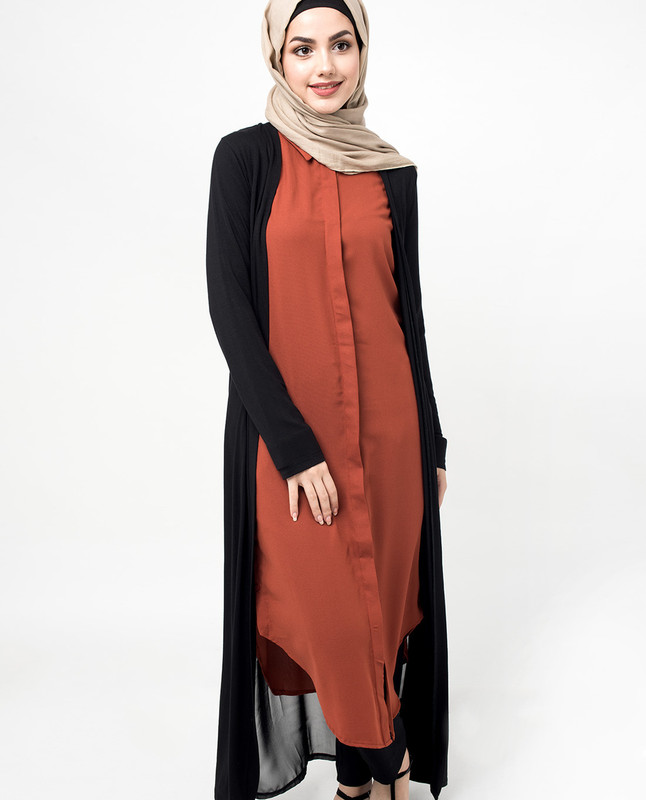Black two tone outer cardigan