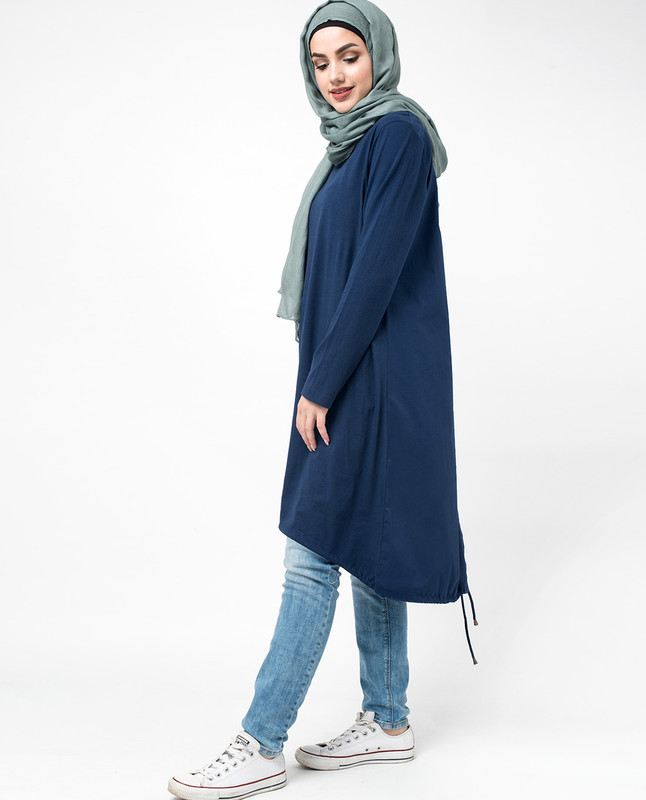 Blue two tone pullover top with drawstring hem