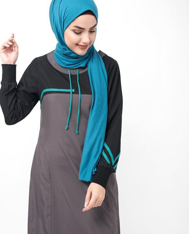 Draw String Detail Black Jilbab