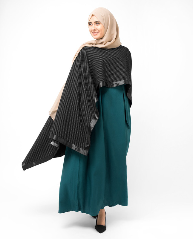 Black Asymmetric Evening Poncho