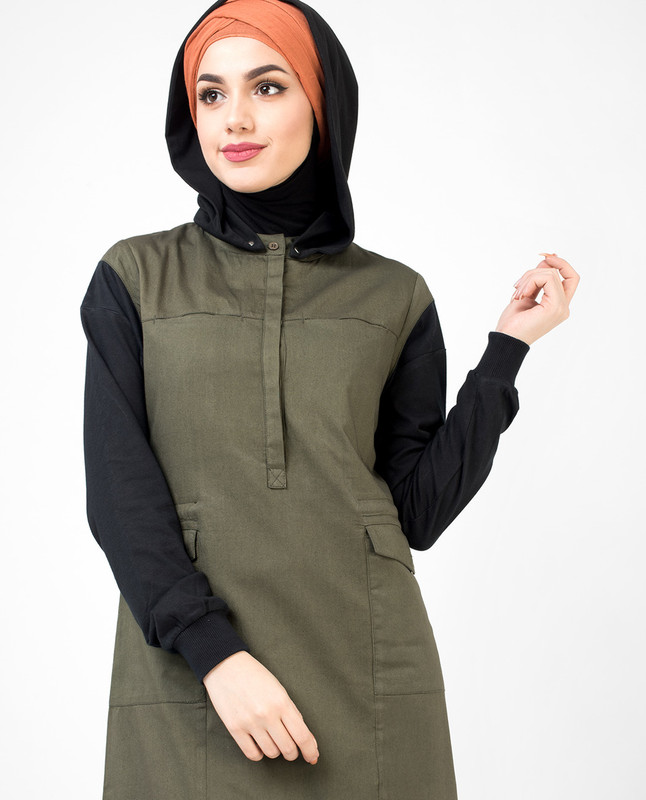 Utility Olive and Black hooded Jilbab