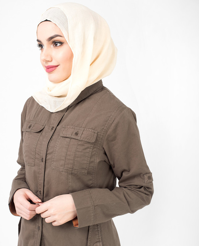 Full Front Open Casual Brown Jilbab