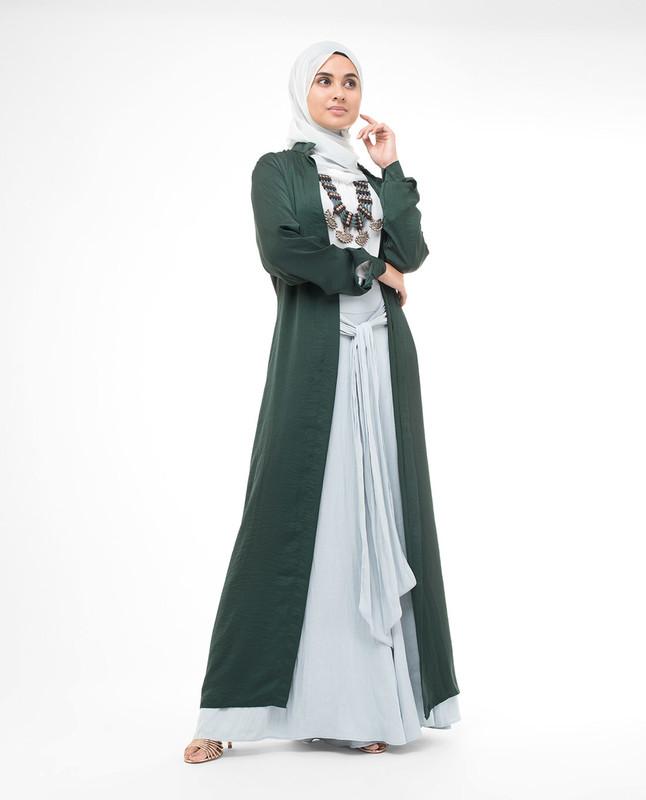 Full Button Green Modest Shirt Dress
