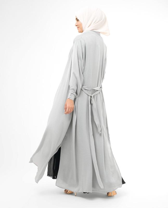 Full Button Silver Modest Shirt Dress