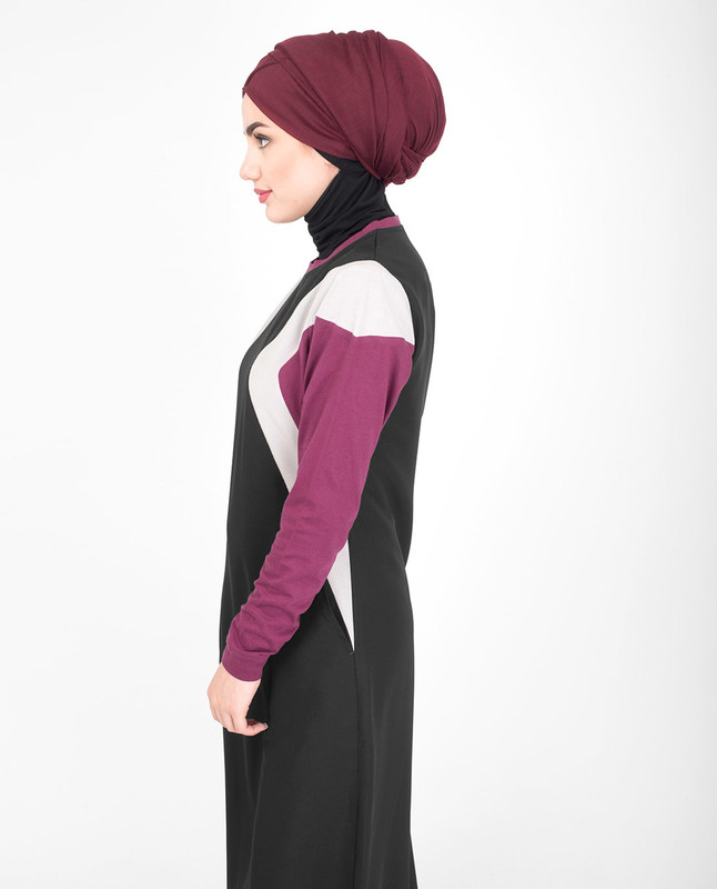 Colour Blocking Jilbab With Curves