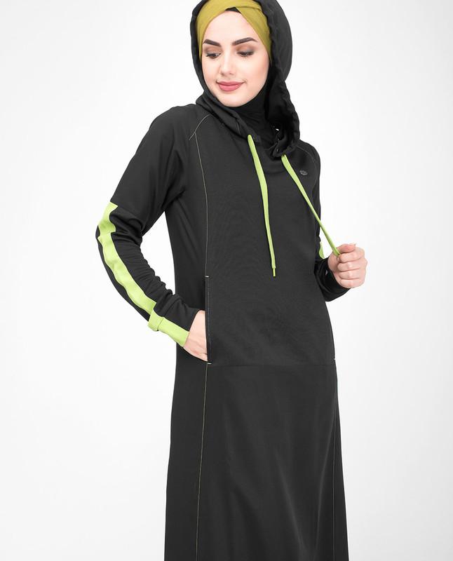 Black & Lime Hooded Jilbab
