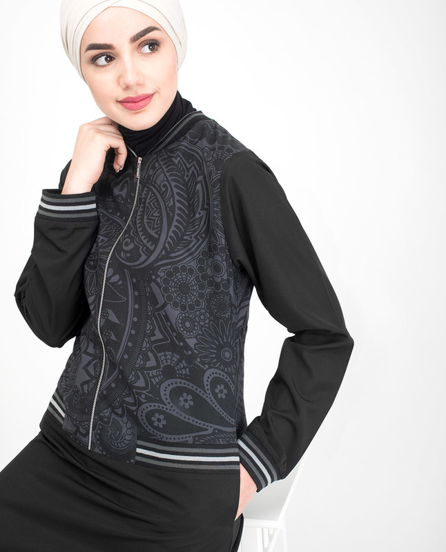 Black Paisley Zip Down Flared Jilbab