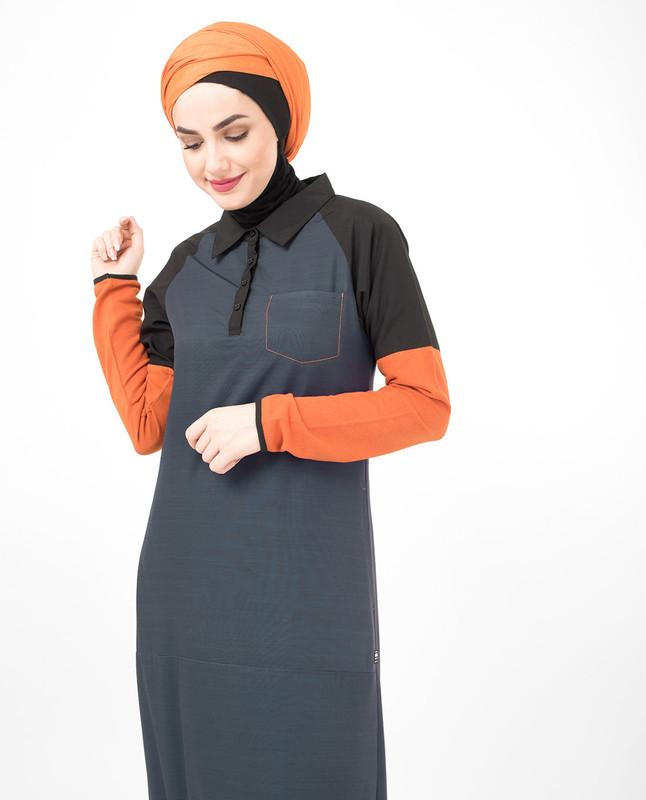 Orange Highlight Pique Jersey Jilbab