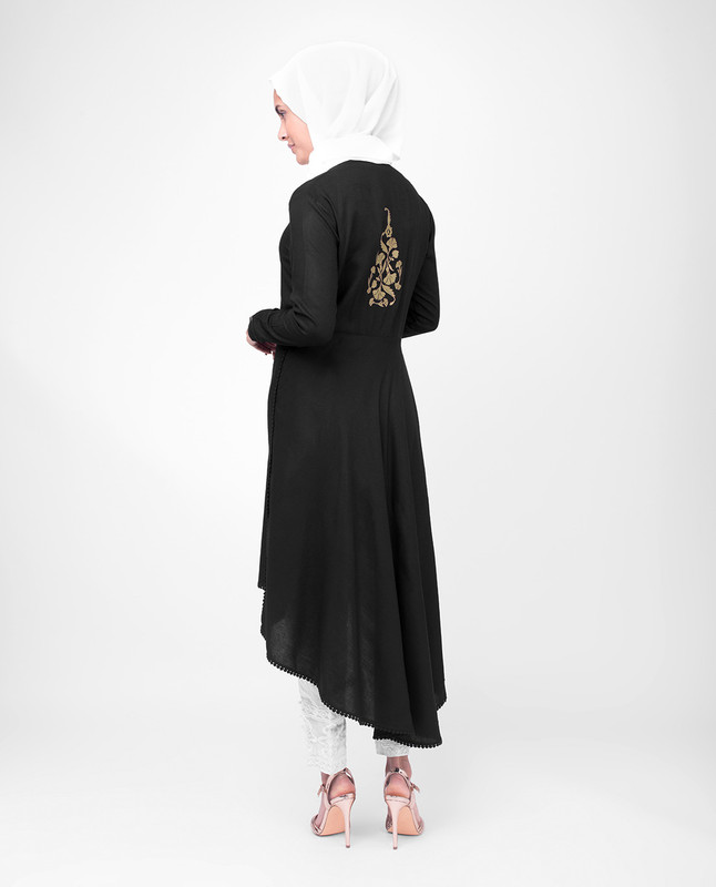 High Low Midi Black Modest Tunic Dress