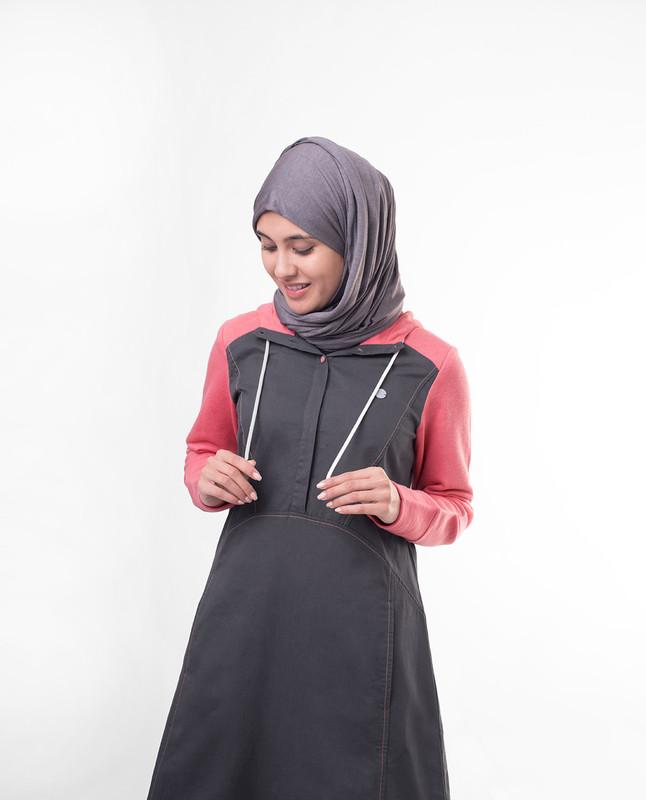 Pink Contrast Hooded Jilbab