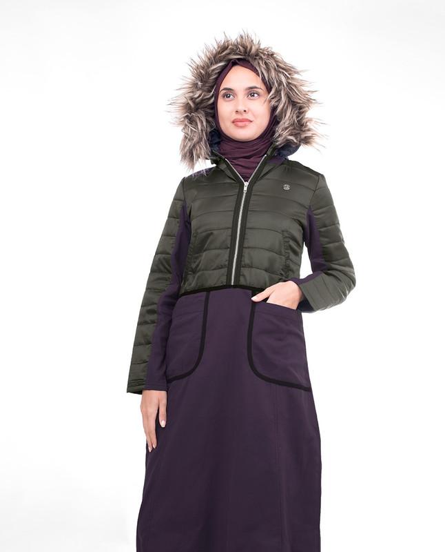 Plum Fur Hooded Winter Jilbab