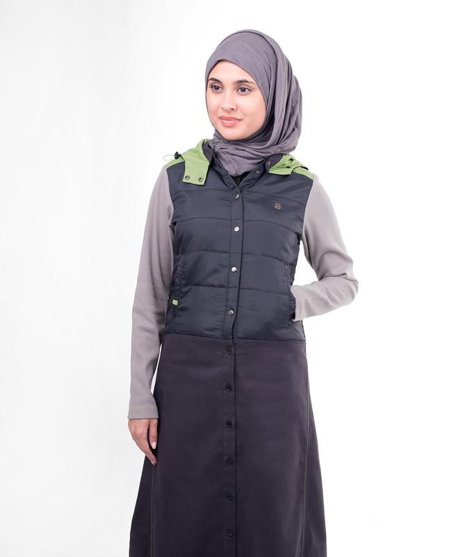 Purple Front Open Winter Hooded Jilbab