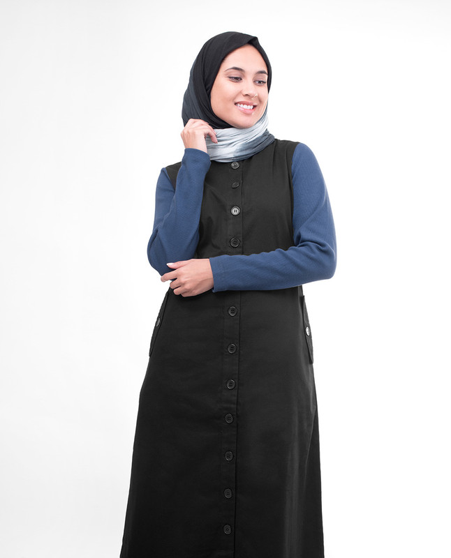 Black Full Button-Down Smart Jilbab