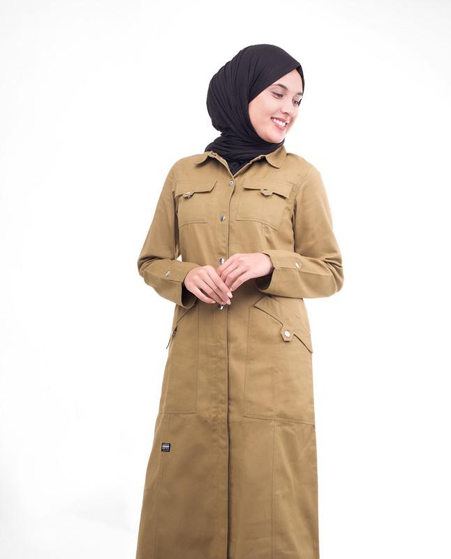 Brown Full Front Open Winter Jilbab