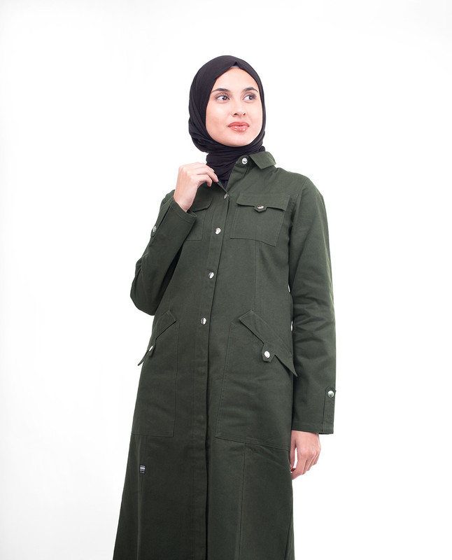 Olive Full Front Open Winter Jilbab