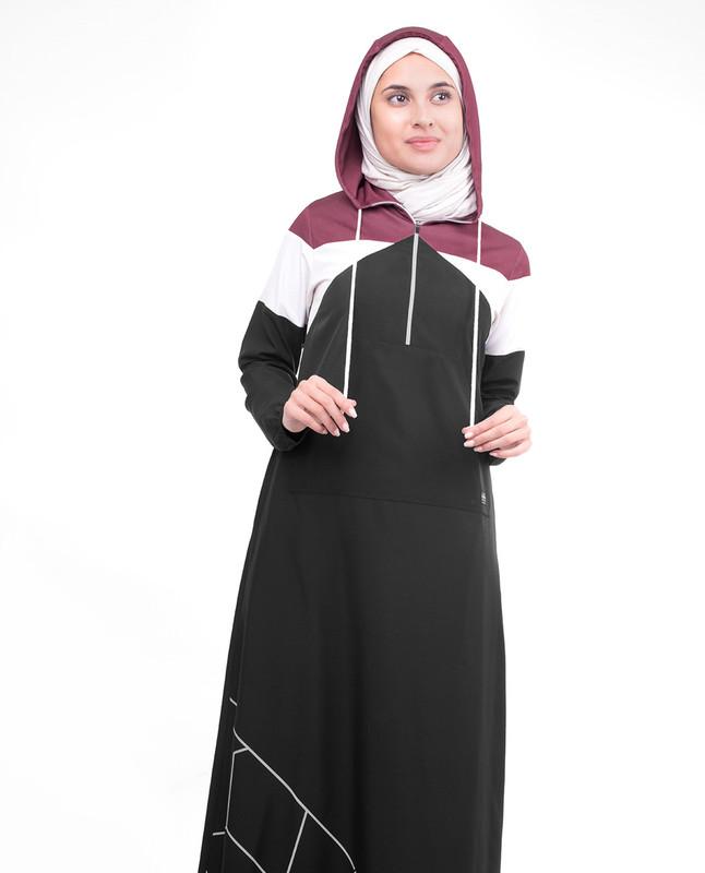 Sporty Active Black Hooded Jilbab
