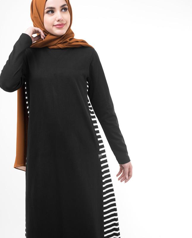 Black Side Striper Jilbab
