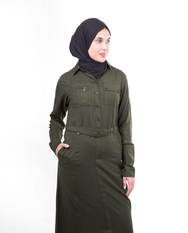 Olive Utility Casual Jilbab