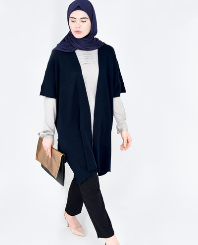 Navy Long Line Cover Up