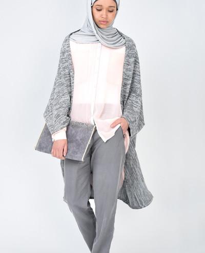 Light Grey Batwing Cardigan