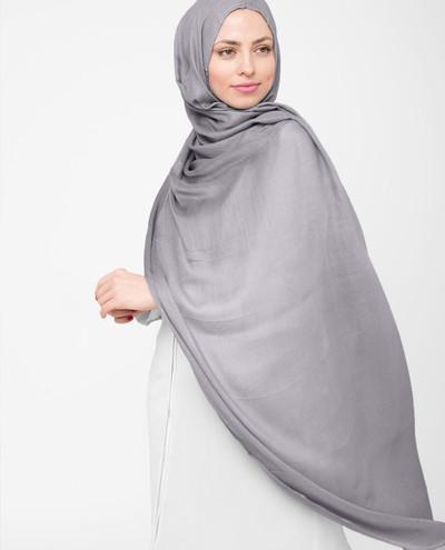Minimal Gray Viscose Hijab