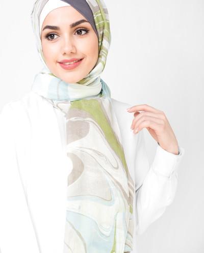 Serene White Beechnut Printed Viscose Hijab