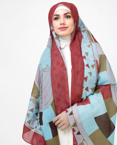 Grey And Red Cotton Voil Hijab