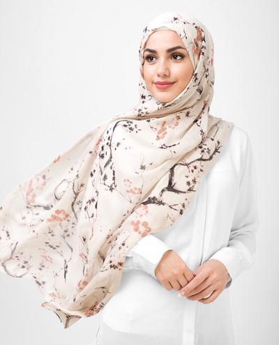 Floral Brown Viscose Printed Hijab